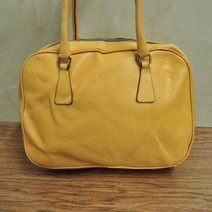 AUTH Prada yellow leather shoulder bag satchel